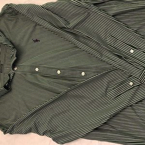 Green and white striped Ralph Lauren button up